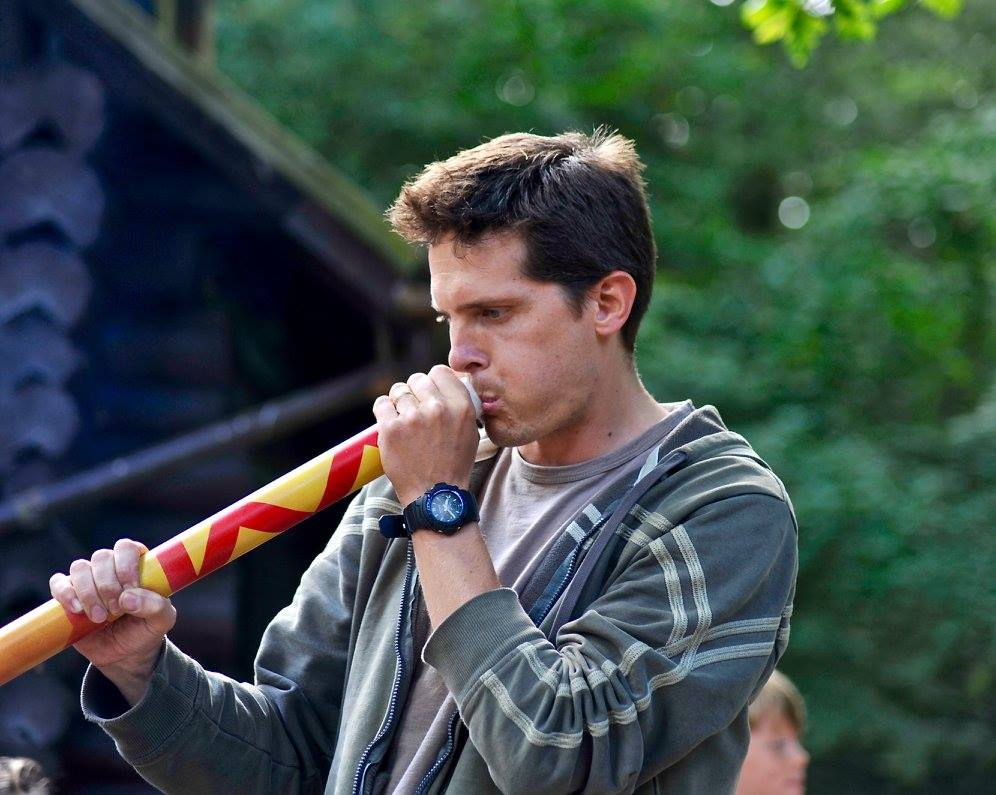Tim Wright playing a didgeridoo